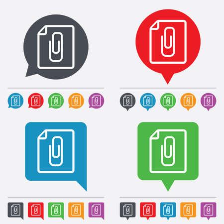 attach: File annex icon. Paper clip symbol. Attach symbol. Speech bubbles information icons. 24 colored buttons. Vector