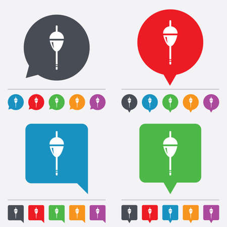 bobber: Fishing sign icon. Float bobber symbol. Fishing tackle. Speech bubbles information icons. 24 colored buttons. Vector