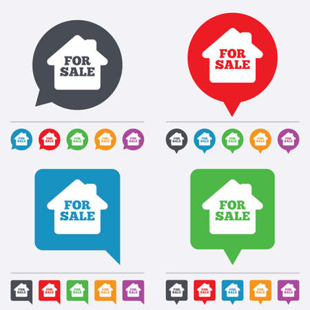 for sale sign: For sale sign icon. Real estate selling. Speech bubbles information icons. 24 colored buttons. Vector