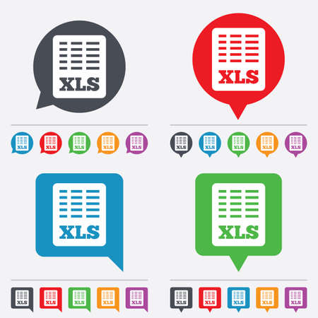 xls: Excel file document icon. Download xls button. XLS file symbol. Speech bubbles information icons. 24 colored buttons. Vector