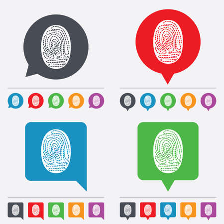 Fingerprint sign icon. Identification or authentication symbol. Speech bubbles information icons. 24 colored buttons. Vector