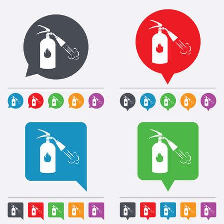 fire extinguisher sign: Extintor signo icono. S�mbolo de seguridad contra incendios. Burbujas del discurso iconos de informaci�n. 24 botones de colores. Vector