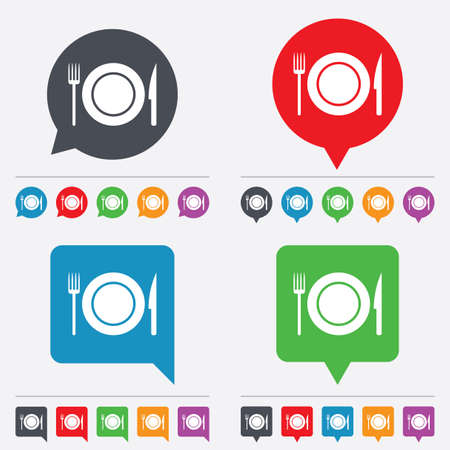 Food sign icon. Cutlery symbol. Knife and fork, dish. Speech bubbles information icons. 24 colored buttons. Vector Vector