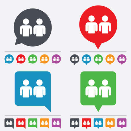 two friends talking: Friends sign icon. Social media symbol. Speech bubbles information icons. 24 colored buttons. Vector
