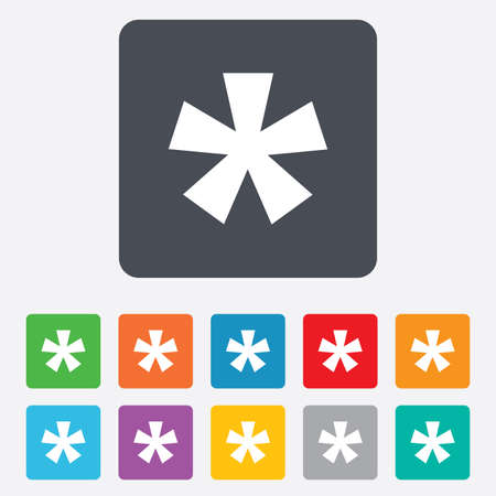 asterisk: Asterisk footnote sign icon. Star note symbol for more information. Rounded squares 11 buttons. Vector