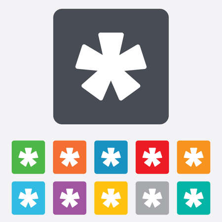 more information: Asterisk footnote sign icon. Star note symbol for more information. Rounded squares 11 buttons. Vector