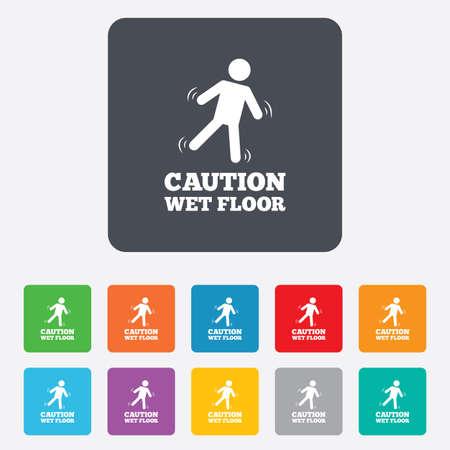 wet floor caution sign: Precauci�n h�medo icono de se�alizaci�n en el suelo. S�mbolo caer humano. Cuadrados redondeados 11 botones. Vector Vectores