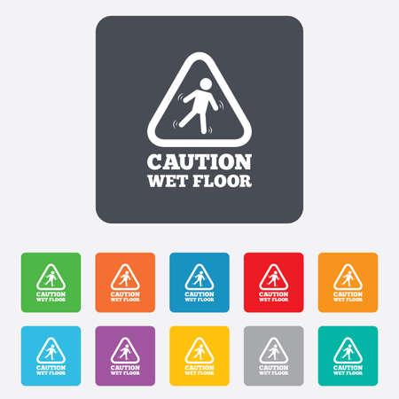 wet floor caution sign: Precauci�n h�medo icono de se�alizaci�n en el suelo. Caer Humano s�mbolo tri�ngulo. Cuadrados redondeados 11 botones. Vector