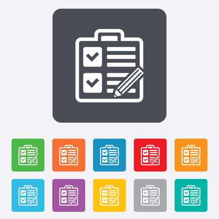 Checklist with pencil sign icon. Control list symbol. Survey poll or questionnaire form. Rounded squares 11 buttons. Vector Vector