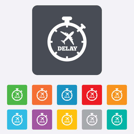 the delayed: Delayed flight sign icon. Airport delay timer symbol. Airplane icon. Rounded squares 11 buttons. Vector Illustration