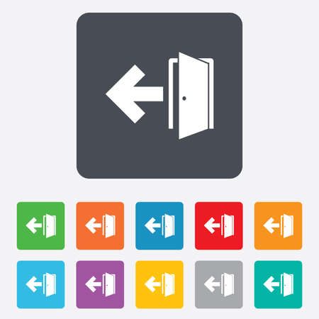 emergency exit label: Emergency exit sign icon. Door with left arrow symbol. Fire exit. Rounded squares 11 buttons.