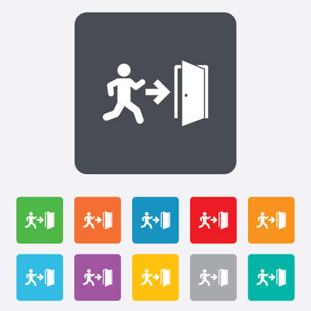 emergency exit sign icon: Emergency exit with human figure sign icon. Door with right arrow symbol. Fire exit. Rounded squares 11 buttons.  Illustration