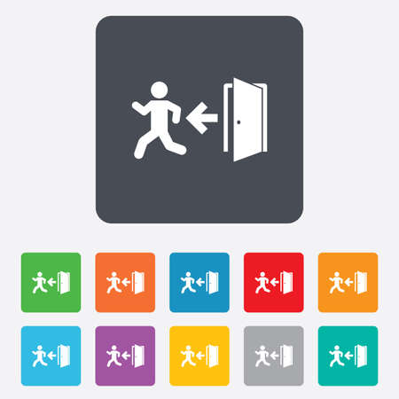 emergency exit sign icon: Emergency exit with human figure sign icon. Door with left arrow symbol. Fire exit. Rounded squares 11 buttons.
