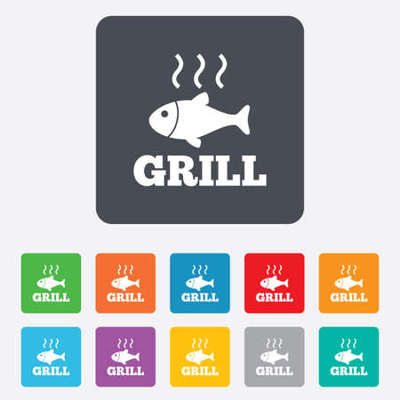 Fish grill hot sign icon. Cook or fry fish symbol. Rounded squares 11 buttons.  Vector