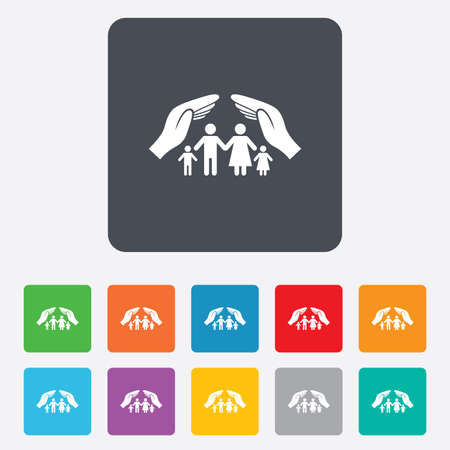 Family life insurance sign icon. Hands protect human group symbol. Health insurance. Rounded squares 11 buttons.  Vector