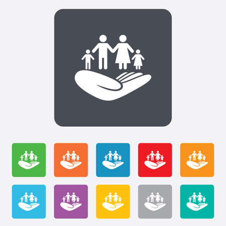 Family life insurance sign. Hand holds human group symbol. Health insurance. Rounded squares 11 buttons.  Illustration