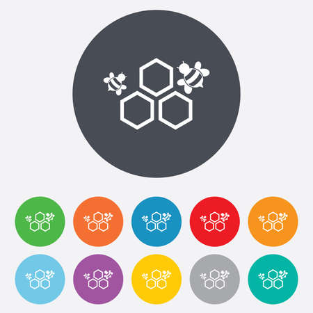 Honeycomb with bees sign icon. Honey cells symbol. Sweet natural food. Round colourful 11 buttons.  Vector