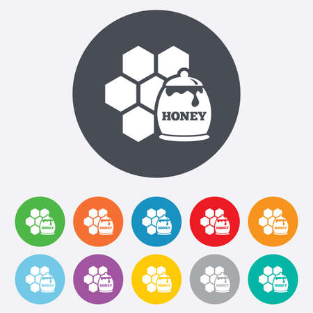 Honey in pot and honeycomb sign icon. Honey cells symbol. Sweet natural food. Round colourful 11 buttons.  Vector