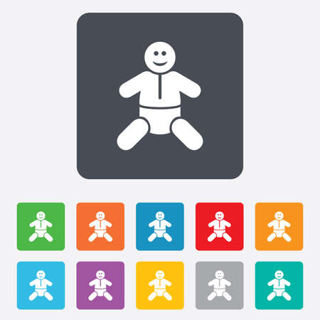 diapers: Baby infant sign icon. Toddler boy with diapers symbol. Child WC toilet. Rounded squares 11 buttons.