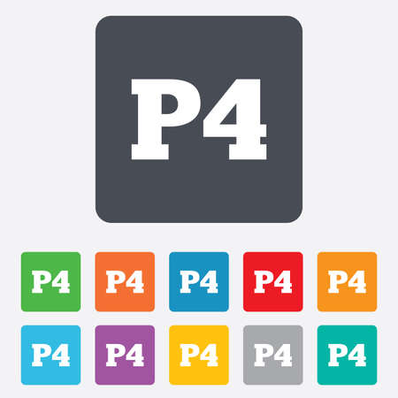 four p: Parking fourth floor sign icon. Car parking P4 symbol. Rounded squares 11 buttons. Vector