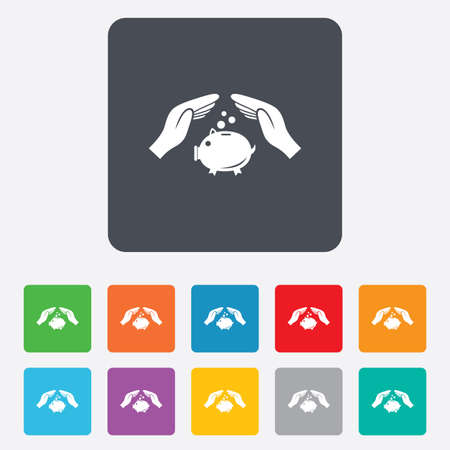 Piggy bank money sign icon. Hands protect moneybox symbol. Money or savings insurance. Rounded squares 11 buttons. Vector Vector