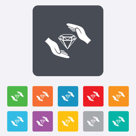 brilliants: Jewelry insurance sign icon. Hands protect cover diamonds symbol. Brilliants insurance. Rounded squares 11 buttons. Vector