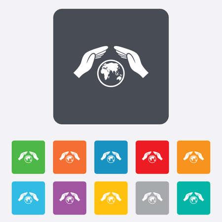 paix monde: Worldwide signe d'assurance ic�ne. Mains prot�ger symbole de couverture. Voyage d'assurance. La paix mondiale. Sauver la plan�te. Carr�s arrondis 11 boutons. Vecteur