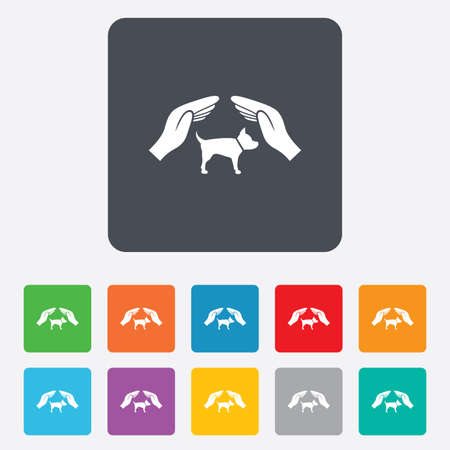Protection of animals pets sign icon. Hands protect dog symbol. Shelter for dogs. Animals insurance. Rounded squares 11 buttons. Vector