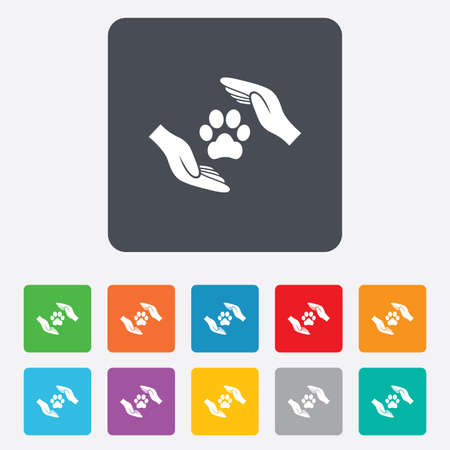 Protection of animals sign icon. Hands protect paw symbol. Shelter for dogs. Animals insurance. Rounded squares 11 buttons. Vector Vector
