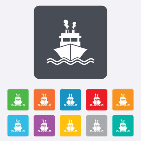 Ship or boat sign icon. Shipping delivery symbol. Smoke from chimneys or pipes. Rounded squares 11 buttons. Vector Vector