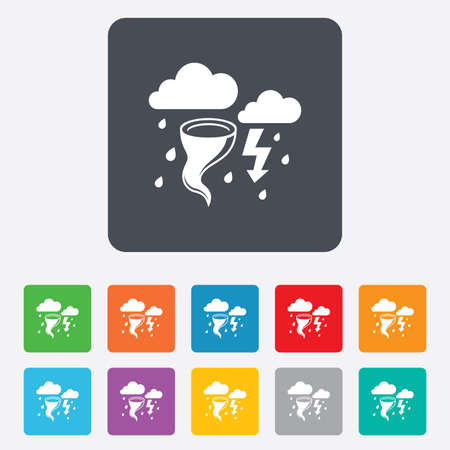 gale: Storm bad weather sign icon. Clouds with thunderstorm. Gale hurricane symbol. Destruction and disaster from wind. Insurance symbol. Rounded squares 11 buttons. Vector