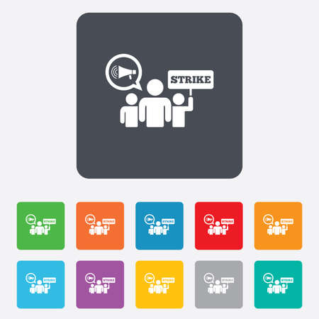 activists: Strike sign icon. Group of people symbol. Industrial action. Holding protest banner and megaphone. Rounded squares 11 buttons. Vector Illustration