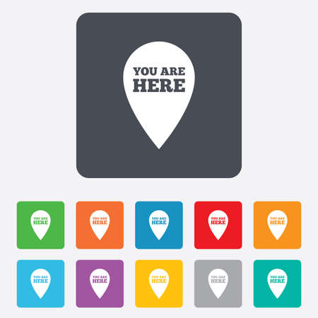 You are here sign icon. Info map pointer with your location. Rounded squares 11 buttons. Vector