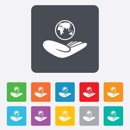 paix monde: Signe d'assurance mondiale. Main tient symbole plan�te. Voyage d'assurance. La paix mondiale. Carr�s arrondis 11 boutons. Vecteur