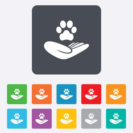 animal shelter: Shelter pets sign icon. Hand holds paw symbol. Animal protection. Rounded squares 11 buttons. Vector Illustration