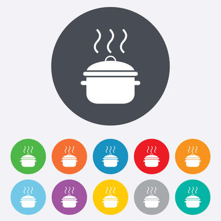 Cooking pan sign icon. Boil or stew food symbol. Round colourful 11 buttons. Vector