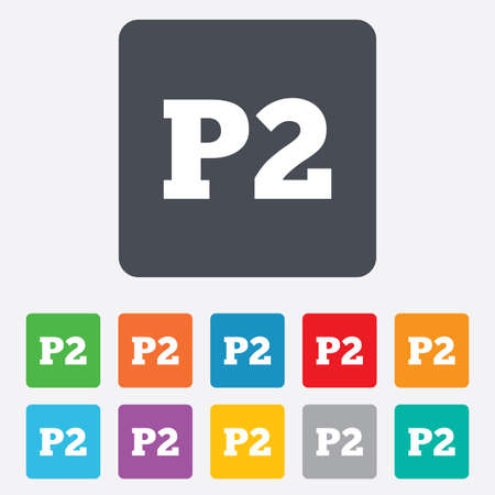 second floor: Parking second floor sign icon. Car parking P2 symbol. Rounded squares 11 buttons. Vector
