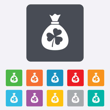 trefoil: Money bag with three leaves clover sign icon. Saint Patrick trefoil shamrock symbol. Rounded squares 11 buttons. Vector Illustration