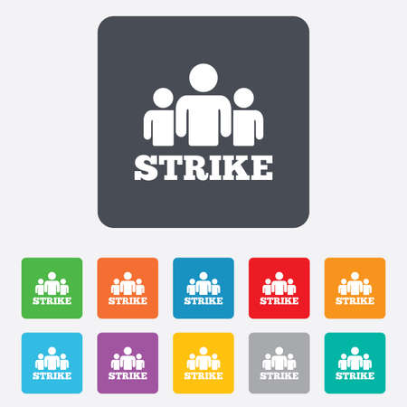 protest sign: Strike sign icon. Group of people symbol. Industrial action. People protest. Rounded squares 11 buttons. Vector