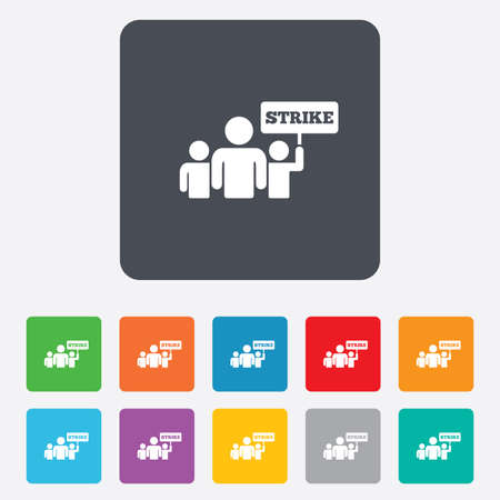 activists: Strike sign icon. Group of people symbol. Industrial action. People holding protest banner. Rounded squares 11 buttons. Vector