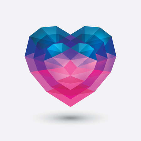 Crystal heart icon.  Çizim