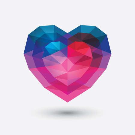크리스탈 심장 유리 기하학적 인 다각형과 타일 현대 사랑 빨간색과 파란색 기호