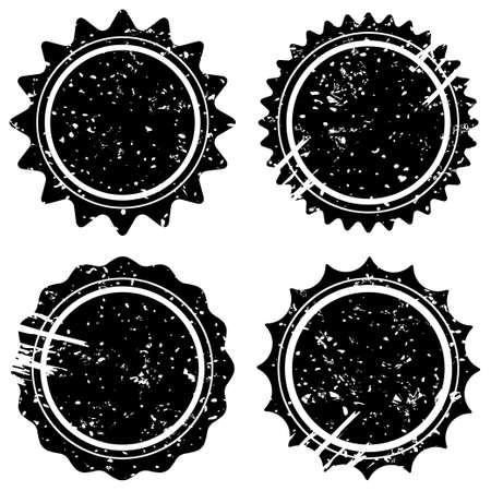 scuff: Retro grunge stamps and badges Classic vintage stars symbols with scuff and scrapes