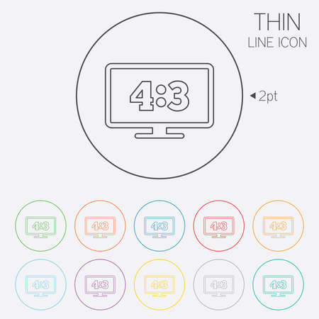 4 3 display: Aspect ratio 4:3 widescreen tv sign icon. Monitor symbol. Thin line circle web icons with outline. Vector Illustration