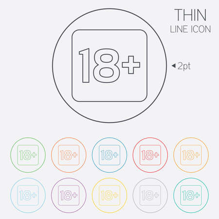 18 years old: 18 years old sign. Adults content only icon. Thin line circle web icons with outline. Vector