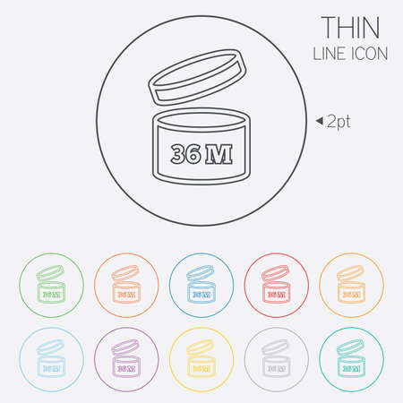 36: After opening use 36 months sign icon. Expiration date. Thin line circle web icons with outline. Vector