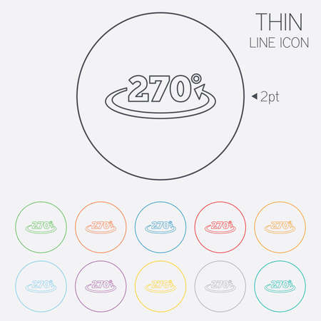math icon: Angle 270 degrees sign icon. Geometry math symbol. Thin line circle web icons with outline. Vector