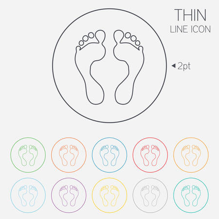 Human footprint sign icon. Barefoot symbol. Foot silhouette. Thin line circle web icons with outline. Vector