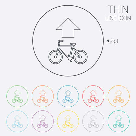 straight path: Bicycle path trail sign icon. Cycle path. Up straight arrow symbol. Thin line circle web icons with outline. Vector Illustration