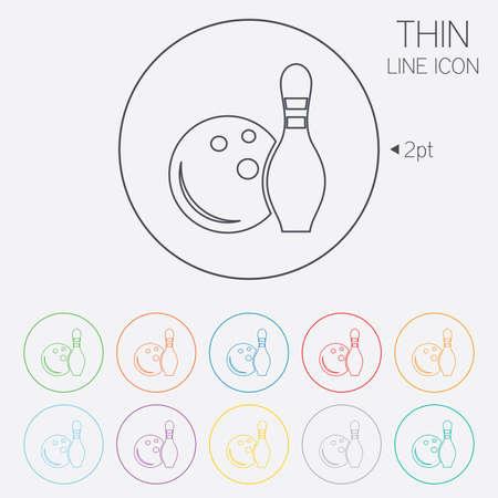 kegelen: Bowling spel teken pictogram. Bal met pin kegel symbool. Dunne lijn cirkel web iconen met omtrek. Vector Stock Illustratie